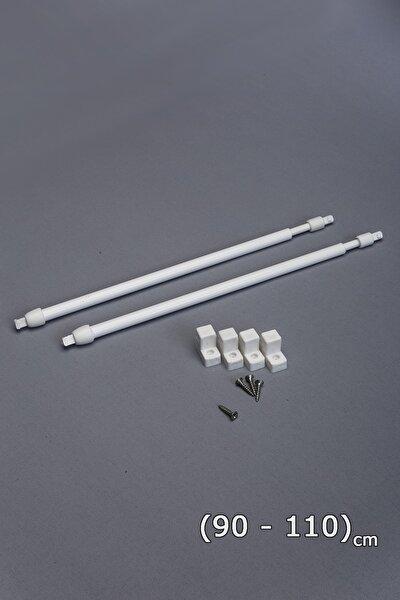 90 - 110 Cm Ayarlababilir Briz Çubuğu 2 Adet Alüminyum Perde Borusu 4 Adet Başlık
