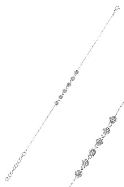 Gümüş Rodyumlu Zirkon Taşlı Çiçek Bileklik