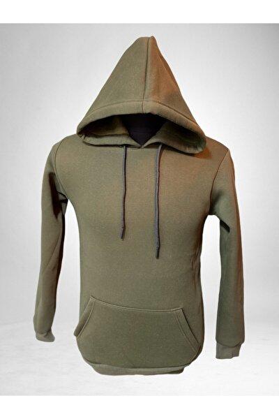 Unisex Haki Kapüşonlu Içi Yünlü Sweatshirt