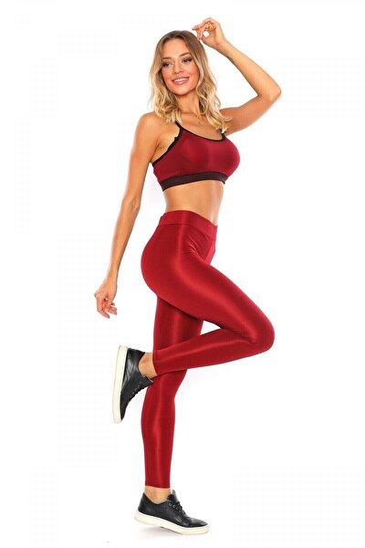 Kadın Kırmızı Yüksek Bel Parlak Disco Tayt