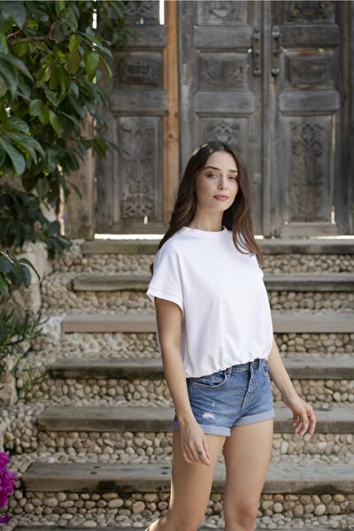 Kadın Beyaz Lastikli Crop T-shirt