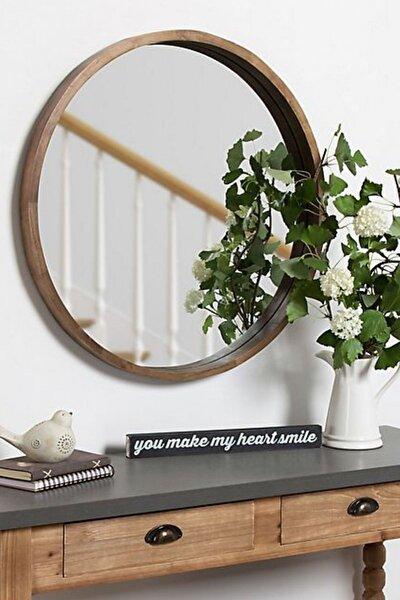 Doğal Ağaç Masif 45cm Ceviz Çerçeveli Antre Koridor Duvar Salon Banyo Ofis Çocuk Yatak Odası Ayna