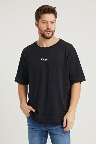 New York Baskılı Erkek Oversizet-shirt