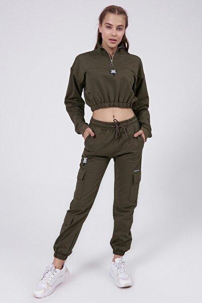 Kadın Haki Kargo Cepli Jogger Örme Eşofman Takımı P20w-2042