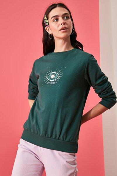 Zümrüt Yeşili Baskılı Basic Örme Sweatshirt TWOAW21SW1773