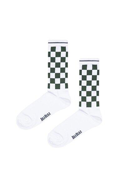 Erkek Beyaz Skater Uzun Çorap