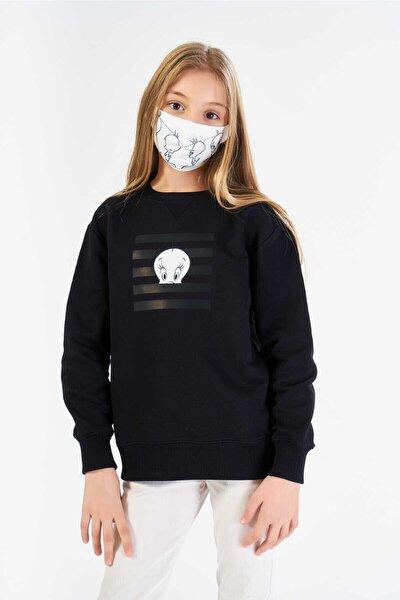 Kız Çocuk Siyah Lisanslı Tweety Baskılı Sweatshirt