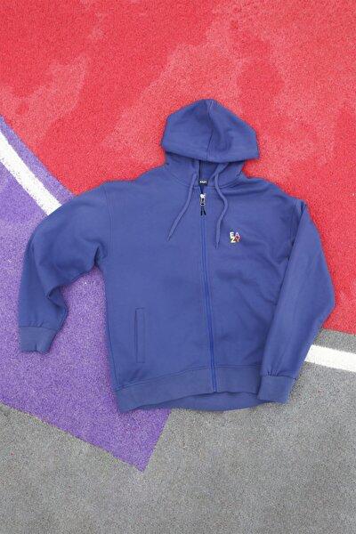 Unisex Lacivert Basic Oversize Kapüşonlu Ceket
