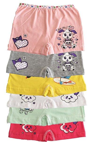 Kız Çocuk Renkli Likralı Pamuk Boxer 6 Lı Paket