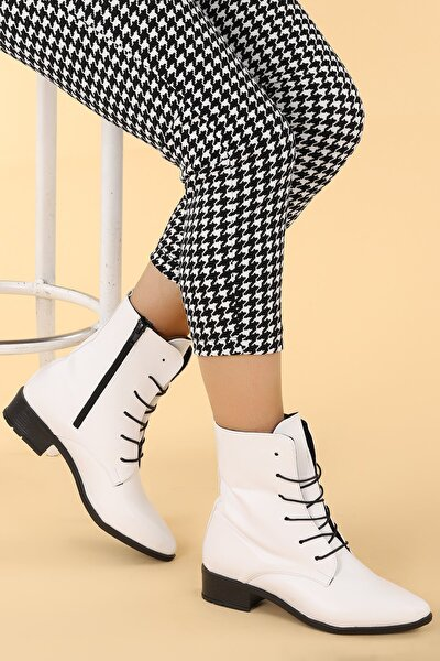 Kadın Beyaz  Cilt Bağcıklı Termo Taban Bot Ayakkabı 007-01