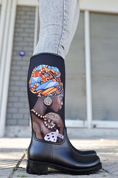 Kadın Siyah Yağmur Çizmesi Sb20507