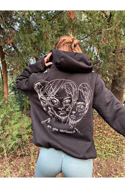 Kadın Siyah Are You Serious Sweatshirt