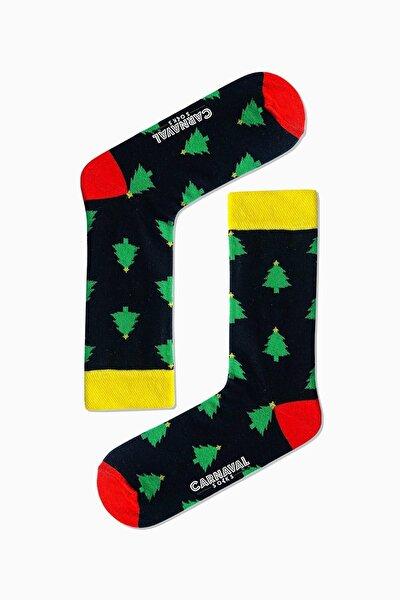 Yılbaşı Çam Ağacı Desenli Renkli Çorap
