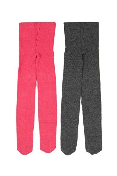 Kız Çocuk Pembe 2li Düz Külotlu Çorap