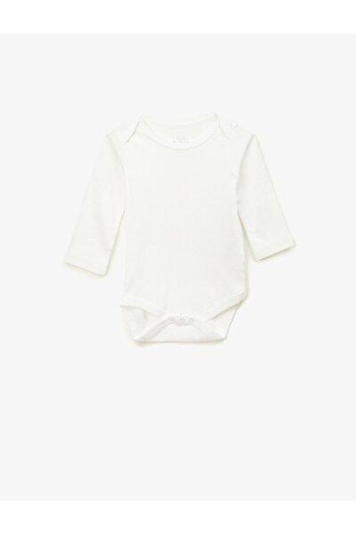 Kız Bebek Beyaz Pamuklu Basic Uzun Kollu Çıtçıtlı Zıbın