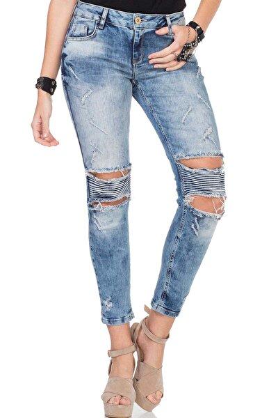 Kadın Mavi Dizi Yırtık Yıpranmış Nervürlü Jeans