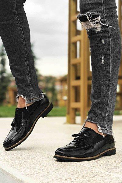 Erkek Siyah Rugan Parçalı Püsküllü Klasik Ayakkabı
