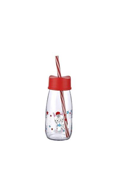 Titiz Desenli Cam Pipetli Süt Şişesi 250ml Ml Orta Boy Kırmızı
