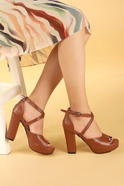 Kadın Taba Platform Topuk Ayakkabı 11 cm 3210-2058