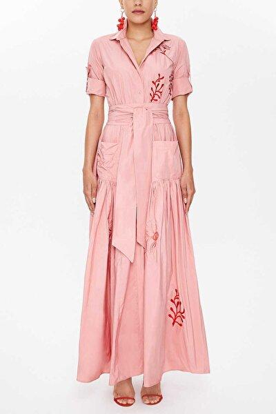 - Nakışlı Bagcıklı Büzgülü Uzun Gömlek Elbise 92917 Somon