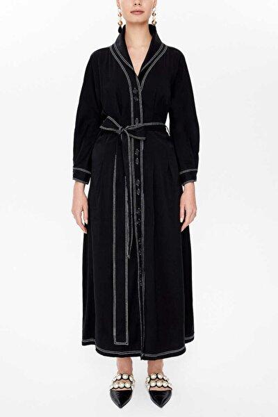 - Bağlamalı Uzun Gömlek Elbise 92977 Siyah