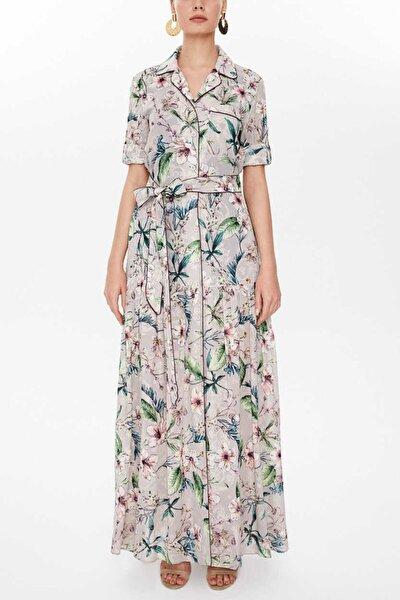 - Büzgü Detaylı Uzun Elbise 93018 Lila