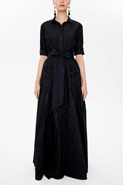 - Büzgü Detaylı Uzun Gömlek Elbise 93131 Siyah