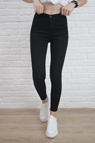 Kadın Siyah Yüksel Bel Likralı Dar Kesim Toparlayıcı Skinny Jean Kot Pantalon