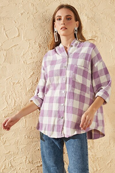 Kadın Lila Oduncu Kapişonlu Gömlek