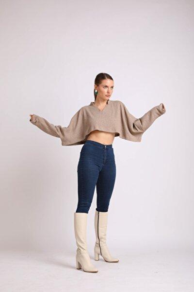 Kadın Bej Topuklu Toka Detaylı Hakiki Deri Çizme