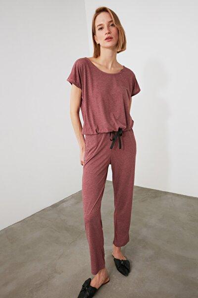 Gül Kurusu Bağlama Detaylı Örme Pijama Takımı THMSS20PT0068