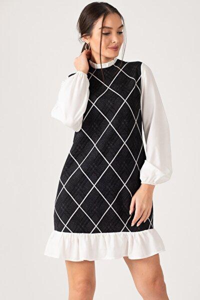 Kadın Füme Yakası Ve Altı Fırfırlı Desenli Elbise ARM-21K001041