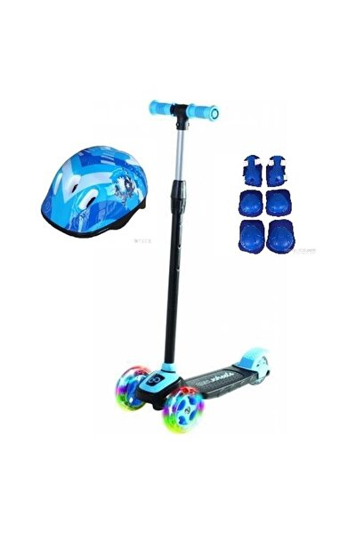 Led Işıklı 3 Tekerlekli Twist Çocuk Scooter Full Set Mavi