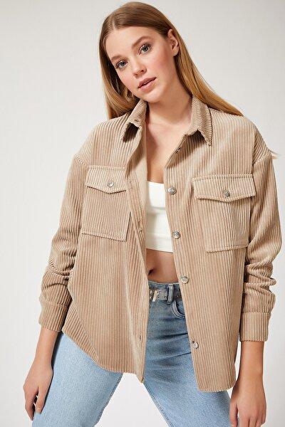 Kadın Taş Kadife Hafif Oversize Gömlek DD00768
