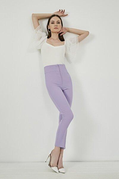 Kadın Lila Yüksek Bel Dar Paça Pantolon
