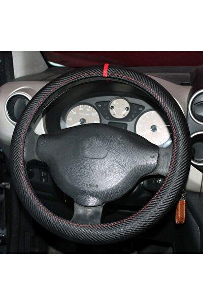Renault Fluence Karbon Desenli Geçmeli Direksiyon Kılıfı Kırmızı Yüzüklü