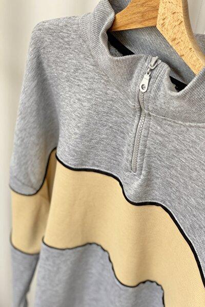 Kadın Gri Triko Detay Oversize Sweatshirt