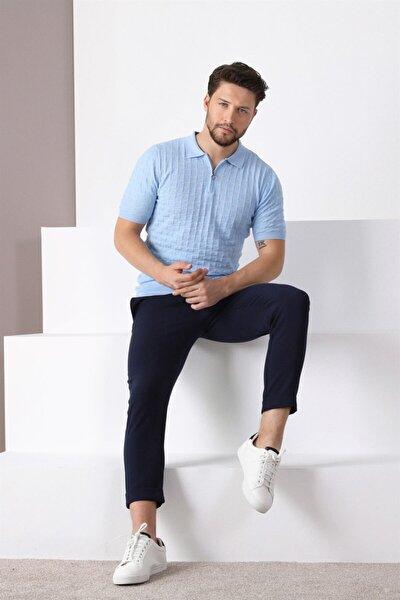 Erkek Mavi Polo Yaka Fermuarlı  Pamuk Triko T-shirt