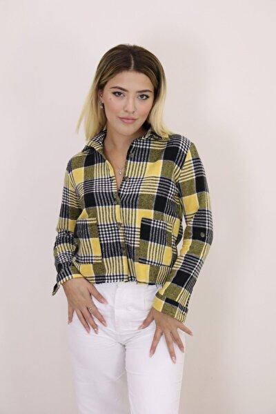 Kadın Sarı Ekose Gömlek