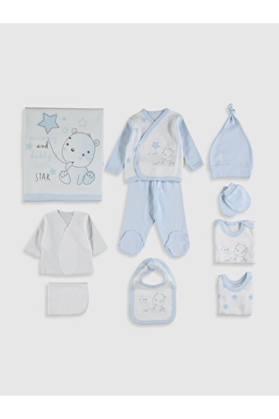 Erkek Bebek Mavi Yenidoğan Özel Kutulu 10 Lu Takım