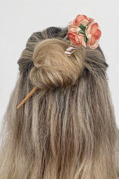 Turuncu Renk Çiçek Figürlü Topuz Tokası