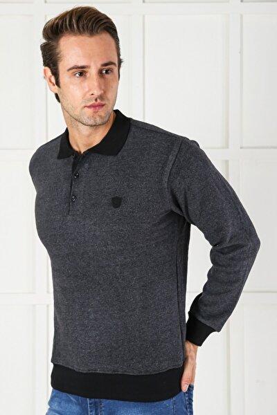 Erkek Cepli Düğmeli Kalın Polo Yaka Eteği Lastikli Selanik Örgü Rahat ve Geniş Kalıp Sweatshirt