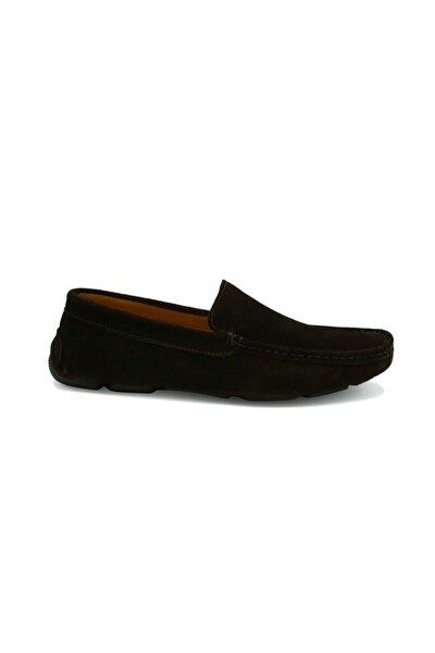 Erkek Kahverengi Hakiki Süet Deri Loafer Ayakkabı