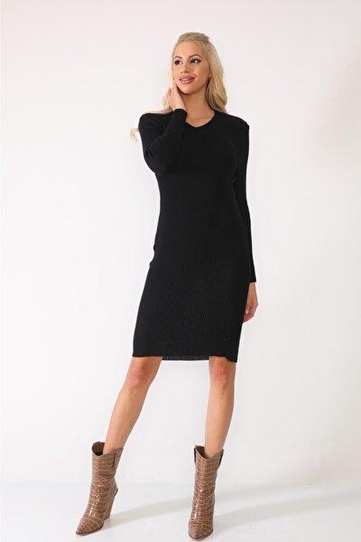 Kadın Siyah Triko Elbise