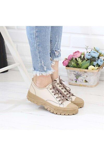 Kadın Bej Kısa Sneaker 91907
