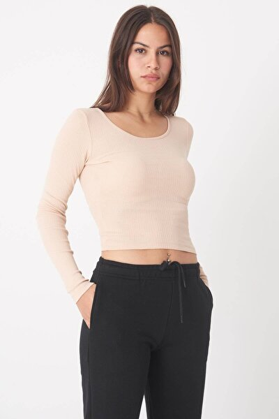 Kadın Bej Uzun Kollu Bluz B1069 - W12 Adx-0000023026