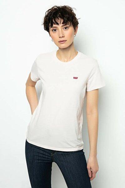 Kadın Beyaz Pamuklu T-Shirt 39185-0069