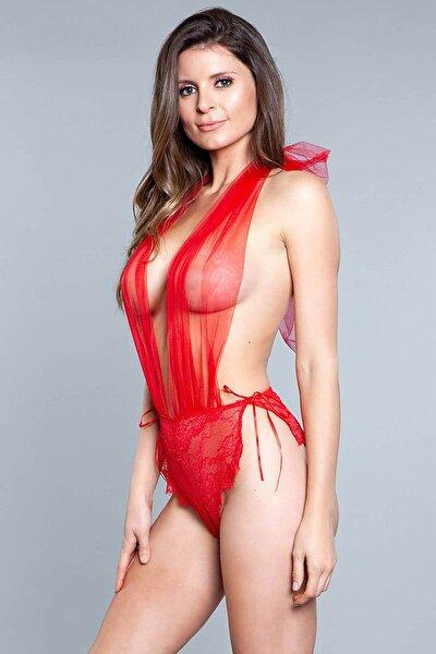 Kırmızı Dantelli Fantezi Transparan Body