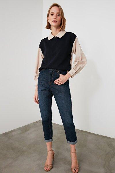 Lacivert Selvedge  Yüksek Bel Mom Jeans TWOAW21JE0756