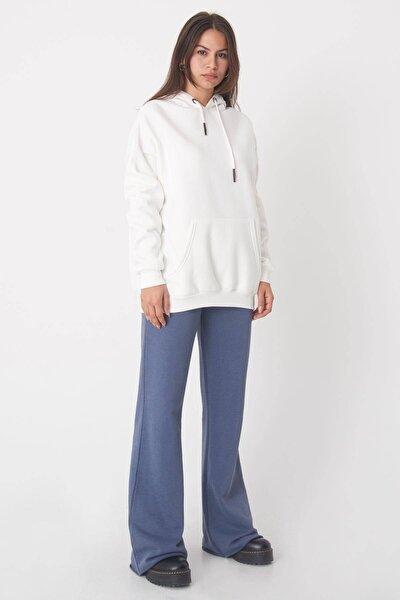 Kadın Ekru Kapüşonlu Sweatshirt  S8641